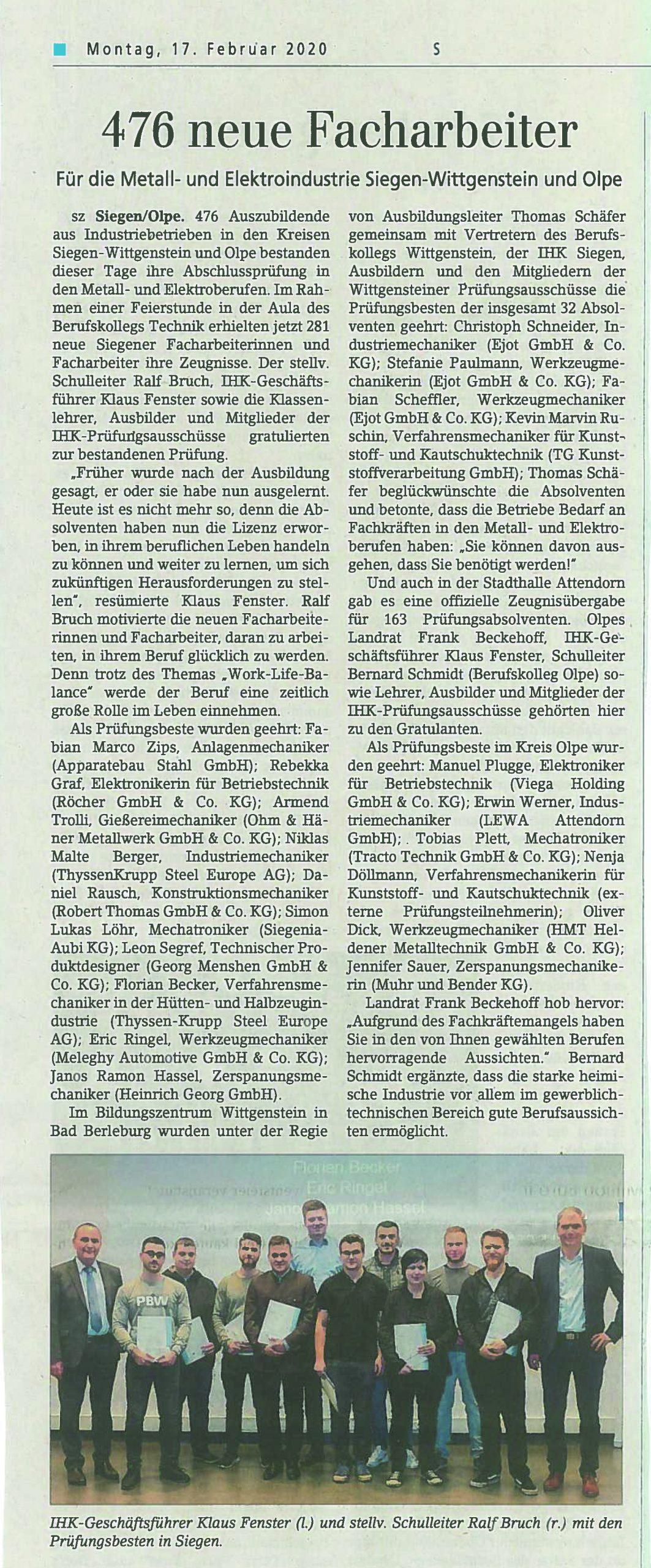 Zeitungsartikel Azubi